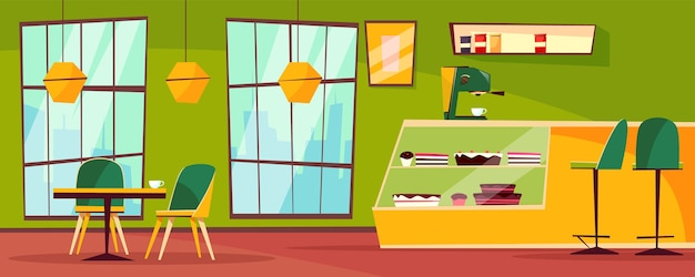 Café ou cafétéria illustration intérieure de la pâtisserie de bande dessinée. Vecteur gratuit