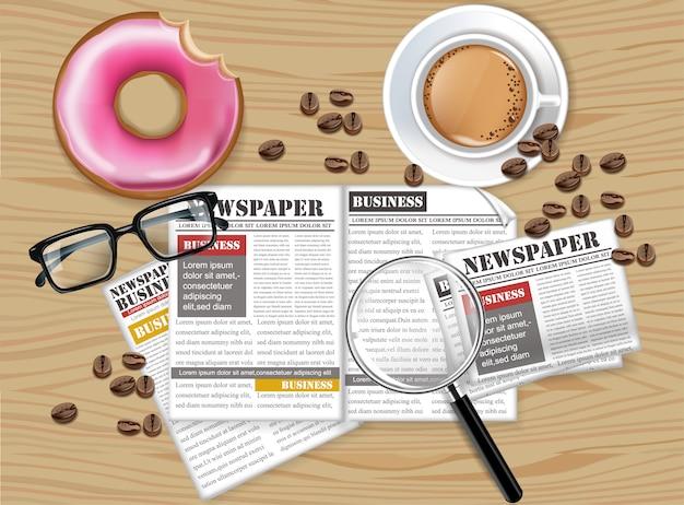 Café et collection de journaux Vecteur Premium