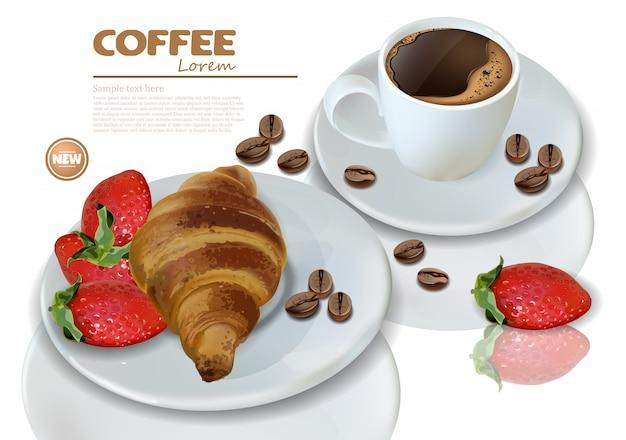 Café et croissant Vecteur Premium