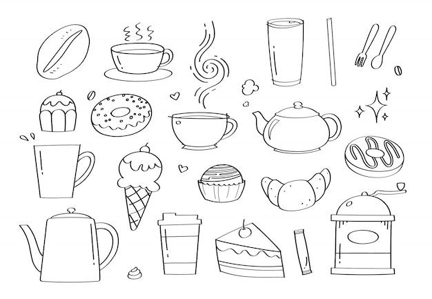 Café Doodle Mignon Café Et Boulangerie Icônes Et Objets De Dessin Animé. Vecteur Premium