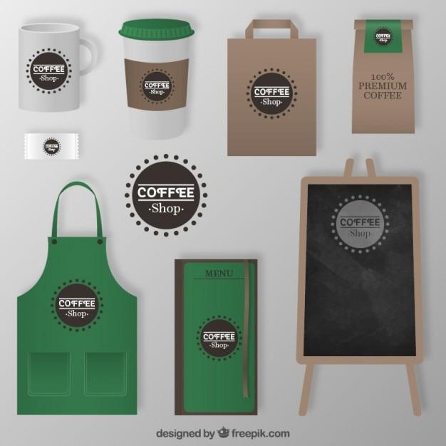 Café éléments D'entreprise Vecteur Premium