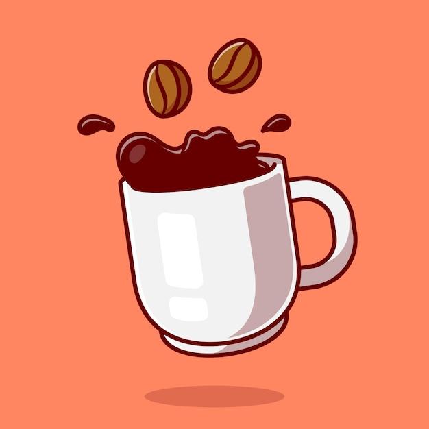 Café Flottant Avec Illustration D'icône De Dessin Animé De Haricots. Vecteur gratuit