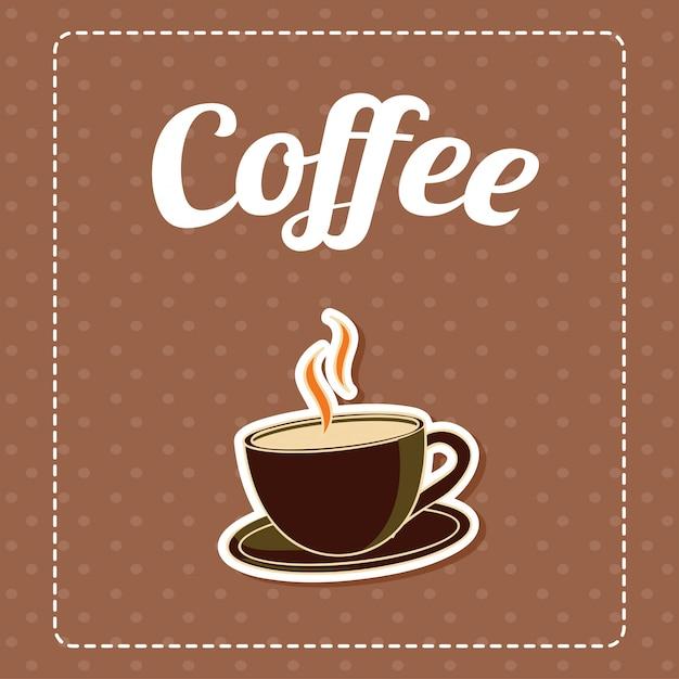 Café En Fond Marron Vecteur gratuit