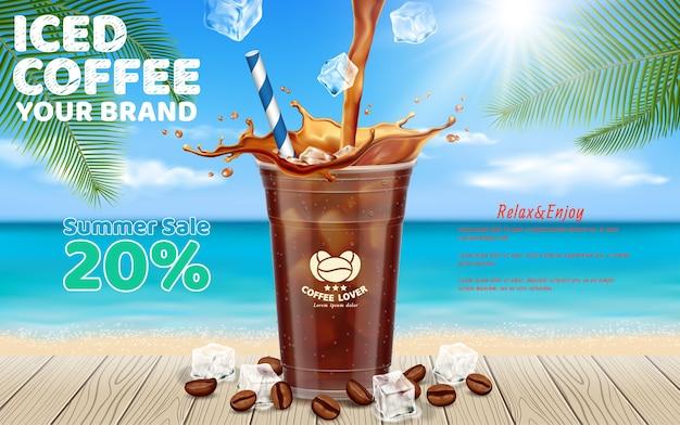 Café glacé versé dans une tasse à emporter Vecteur Premium