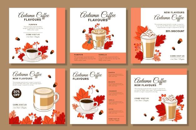 Café Instagram Posts Vecteur gratuit