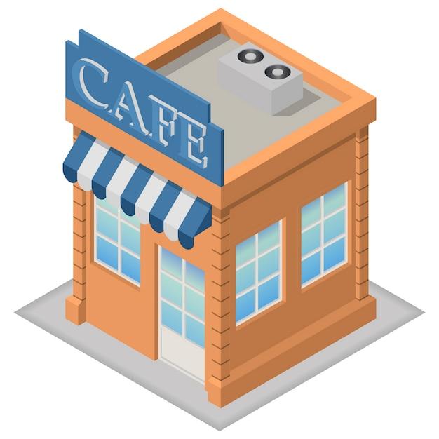 Café isométrique Vecteur Premium