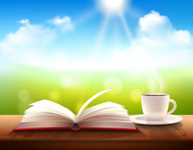 Café et livre Vecteur gratuit