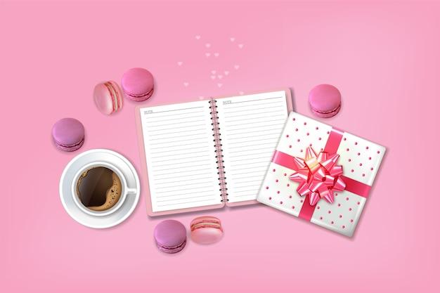 Café et macarons Vecteur Premium
