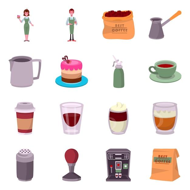 Café et maison de conception vectorielle. définir le stock de café et restaurant. Vecteur Premium