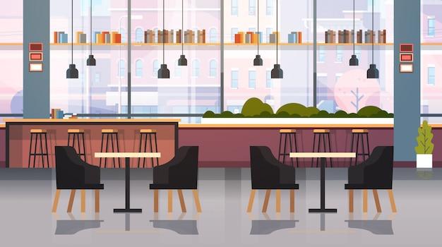 Café Moderne Intérieur Vide Aucun Restaurant De Personnes Avec Des Meubles Café Point Gras Vecteur Premium