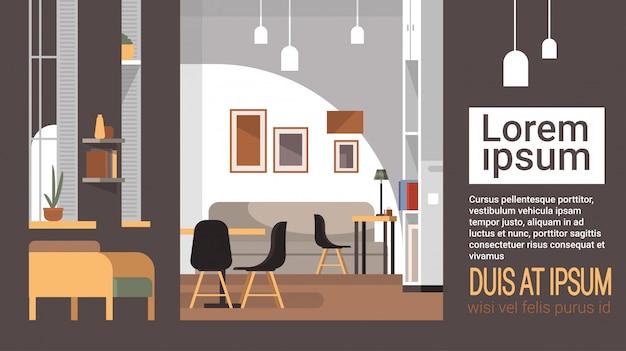 Café moderne intérieur vide restaurant sans personnes Vecteur Premium
