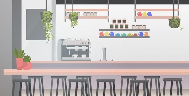 Café Moderne Avec Des Meubles Vecteur Premium