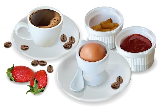 Café et oeuf Vecteur Premium