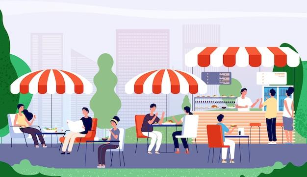 Café En Plein Air D'été Vecteur Premium