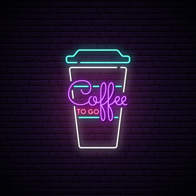 Café pour aller au néon. Vecteur Premium