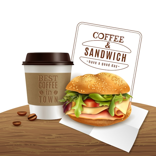 Café sandwich fast food réaliste publicité Vecteur gratuit