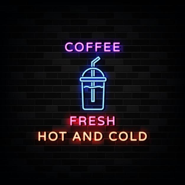 Café Tasse Logo Enseignes Néon Style Design Néon Vecteur Premium