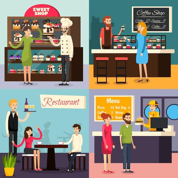 Café travailleur plat icon set Vecteur gratuit