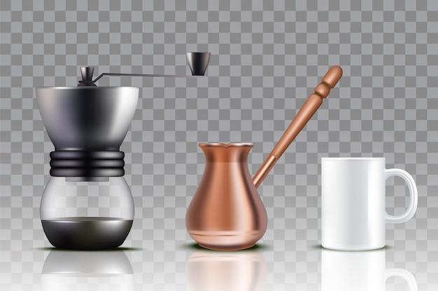 Café Turc Mis Illustration Réaliste Vecteur Premium