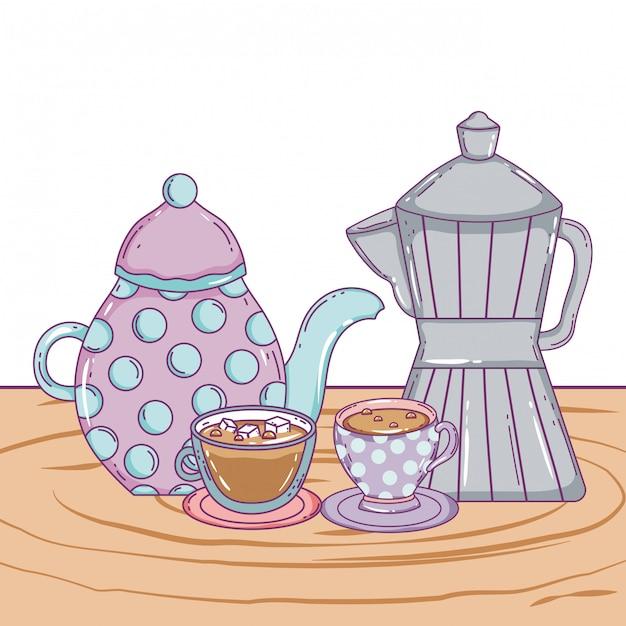 Cafetière et tasses Vecteur Premium