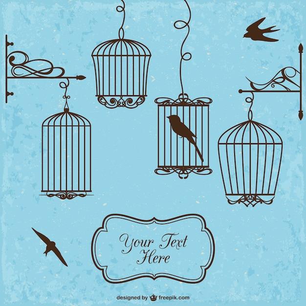 Cages D'oiseaux De Style Rétro Vecteur gratuit