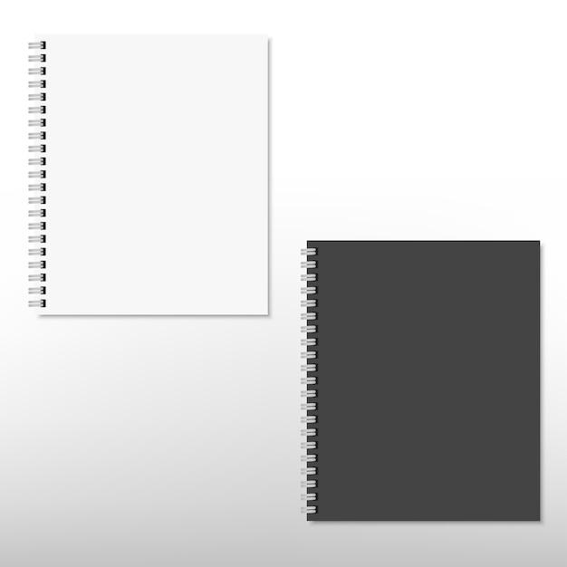 Cahier De Bloc-notes à Spirale Blanc Et Noir Réaliste Isolé Sur Blanc. . Vecteur Premium