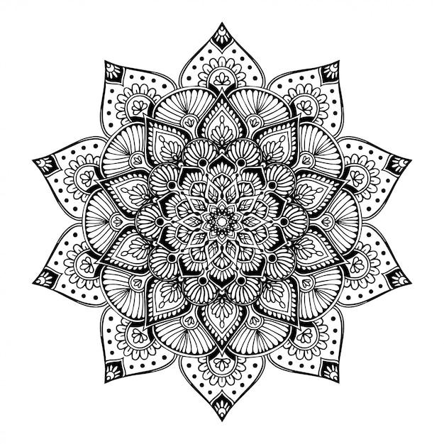 Cahier de coloriage mandalas, thérapie orientale, yoga Vecteur Premium