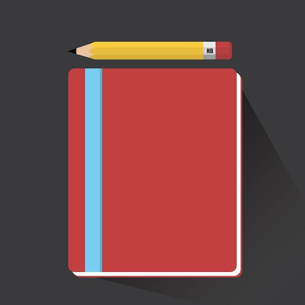 Cahier et crayon à grandissime Vecteur Premium