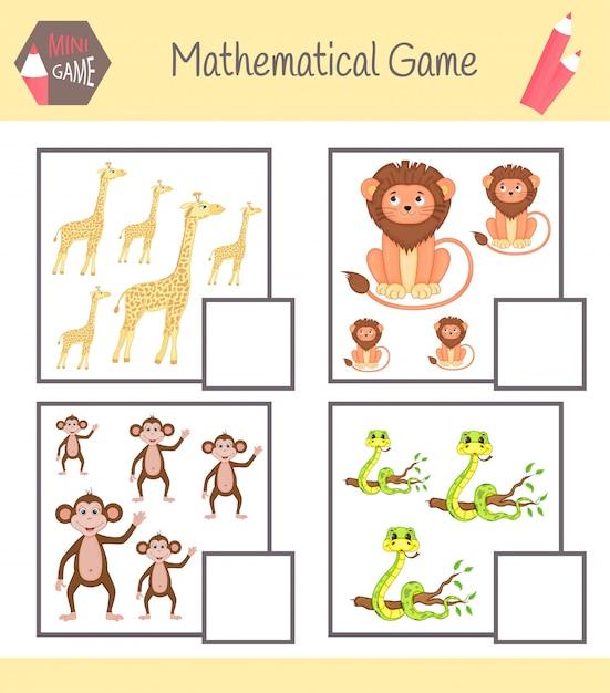 Cahier d'exercices sur les mathématiques pour l'éducation préscolaire Vecteur Premium