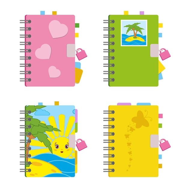 Cahier Fermé, Agenda Personnel Sur Spirale Avec Signets Et Papier Pour Notes. Vecteur Premium