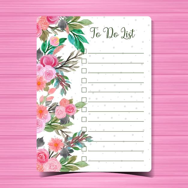Cahier avec des fleurs Vecteur Premium