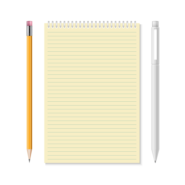 Cahier Avec Illustration Crayon Et Stylo Vecteur Premium