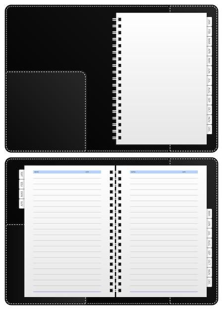 Cahier De Journal, Reliure à Anneaux. Un Carnet De Notes Vierge Avec Reliure à Anneaux, Partitionné De Janvier à Décembre. Vecteur Premium