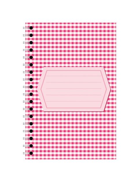 Cahier Papier Spirale Rose Avec étiquette Vecteur Premium