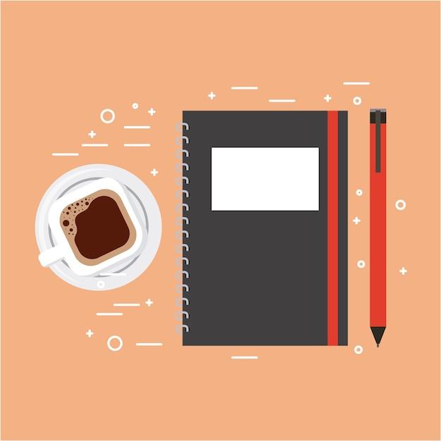 Cahier Spirale Et Crayon Café Tasse Illustration Vectorielle Vecteur Premium