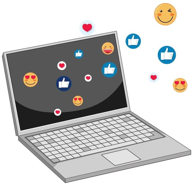 Cahier Avec Thème D'icône Facebook De Médias Sociaux Isolé Sur Fond Blanc Vecteur gratuit