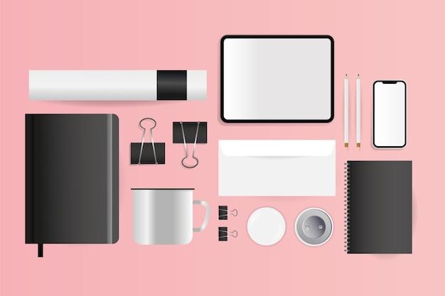 Cahiers D'enveloppe De Tablette Cd Maquette Et Conception De Smartphone Du Modèle D'identité D'entreprise Et Du Thème De Marque Vecteur Premium