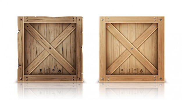 Caisse en bois neuve et âgée réaliste Vecteur gratuit
