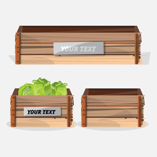 Caisse en bois. Vecteur Premium