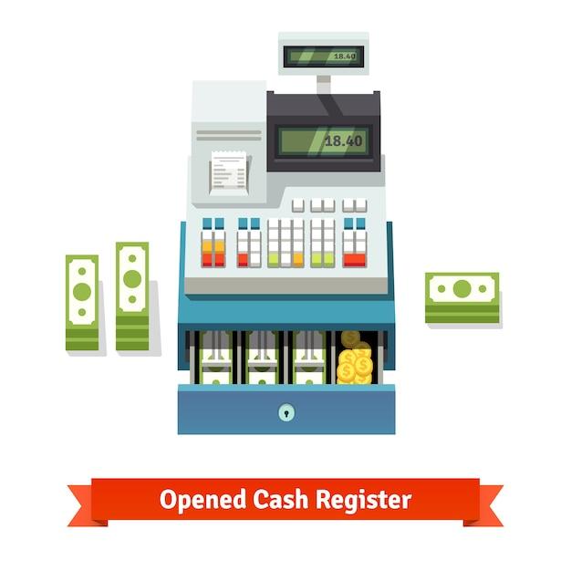 Caisse enregistreuse ouverte, billets et monnaies à l'intérieur Vecteur gratuit