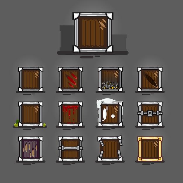 Caisses pour jeux vidéo Vecteur Premium