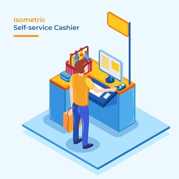 Caissier Libre Service Isométrique Vecteur gratuit