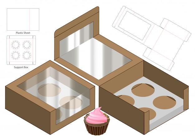 Cake box packaging, conception de modèles découpés à l'emporte-pièce. 3d Vecteur Premium