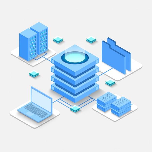 Calcul isométrique du big data center, traitement de l'information, base de données. Vecteur Premium