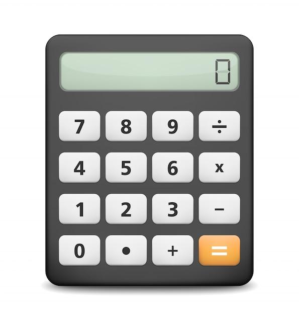 Calculatrice sur fond blanc Vecteur Premium