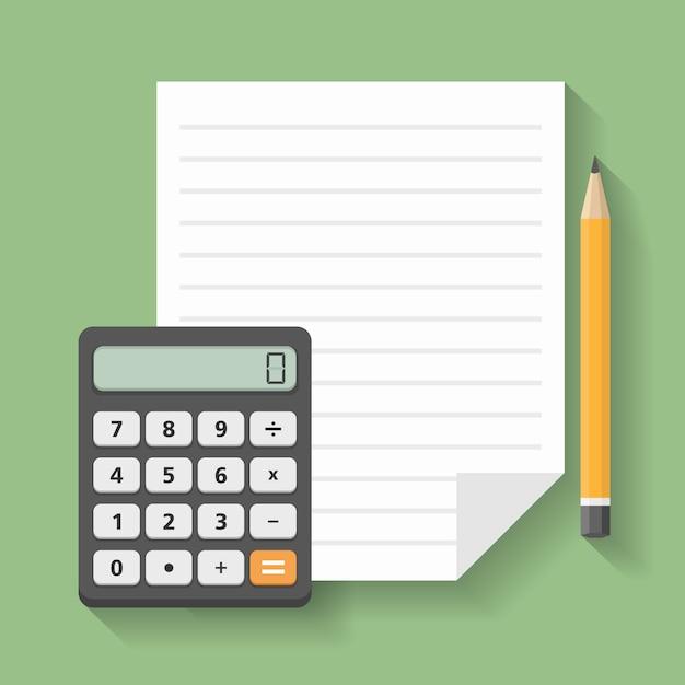 Calculatrice avec papier et crayon, financière Vecteur Premium