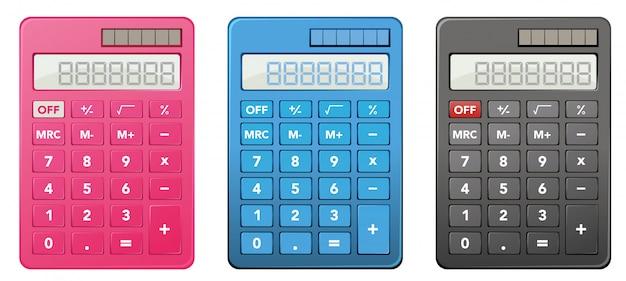 Des calculatrices en trois couleurs différentes Vecteur gratuit