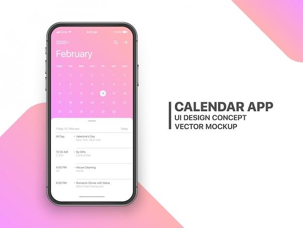 Calendar Calendar Ui Ux Concept Février Page Vecteur Premium