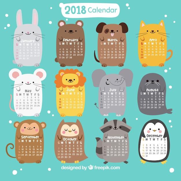 Calendrier 2018 avec de beaux animaux Vecteur gratuit