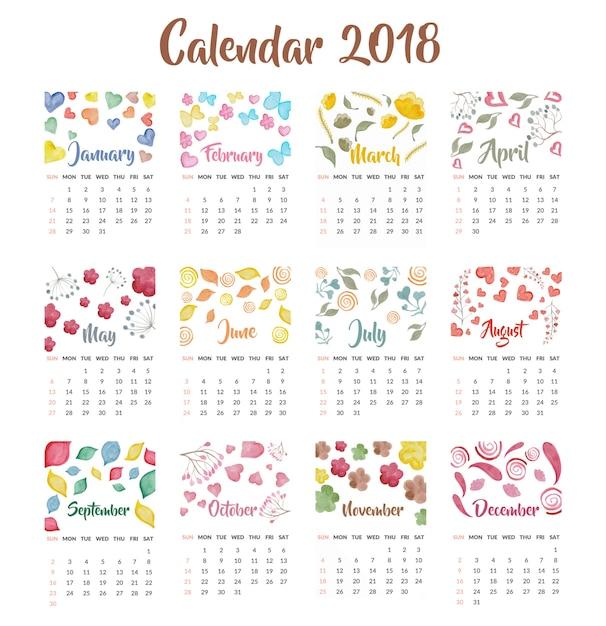 Calendrier 2018 design aquarelle Vecteur gratuit